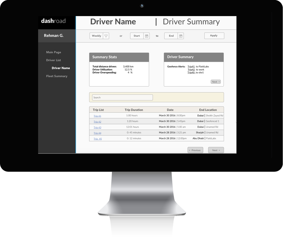 Driver Page